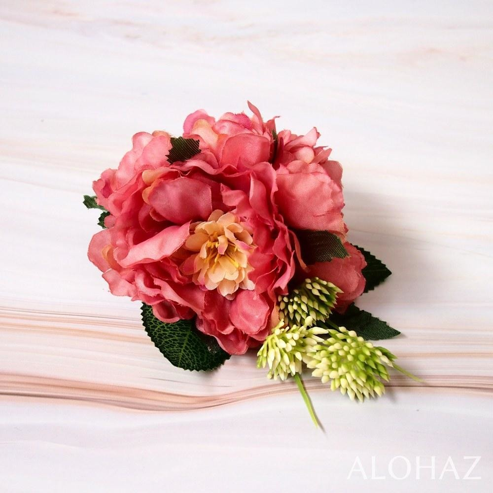 Pink Peony Paeony Hawaiian Flower Hair Clip | Hair Accessories
