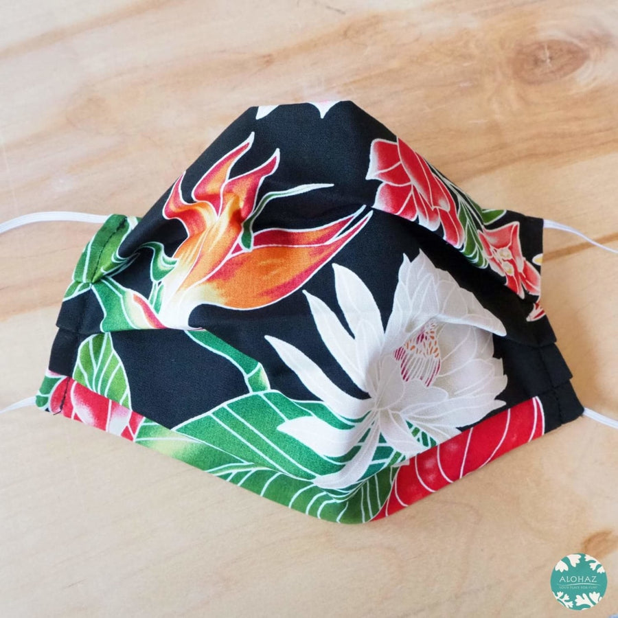 Hawaiian Face Mask for Adults ~ Black Paradise ~ Pleated | face mask