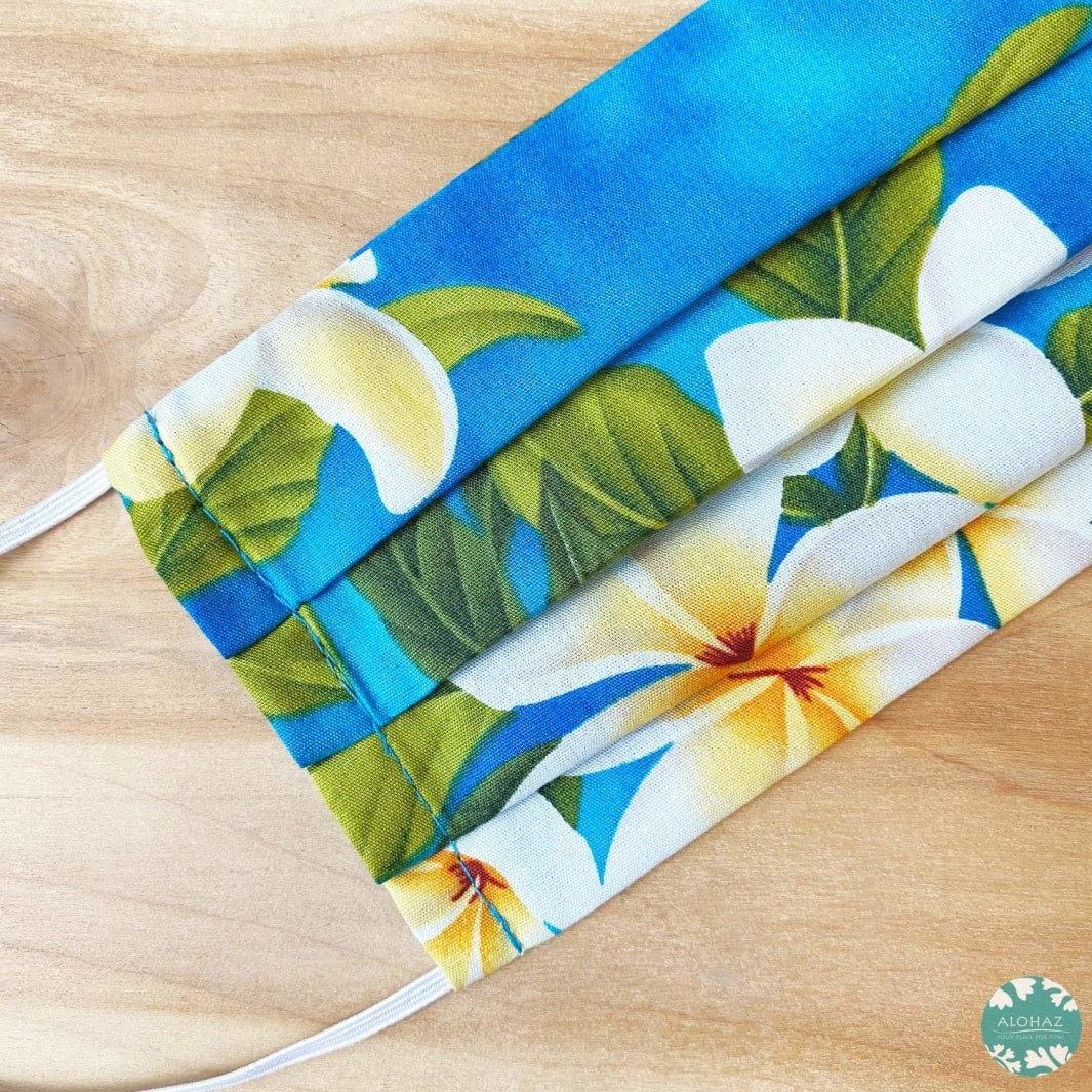 Hawaiian Face Mask for Adults ~ Blue Plumeria Garden ~ Pleated | face mask