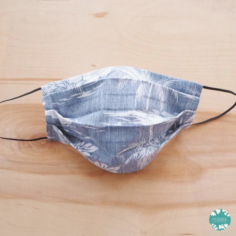 Pleated Face Mask + Filter Pocket ~ Navy Old Hawaii ~ Pleated | face mask