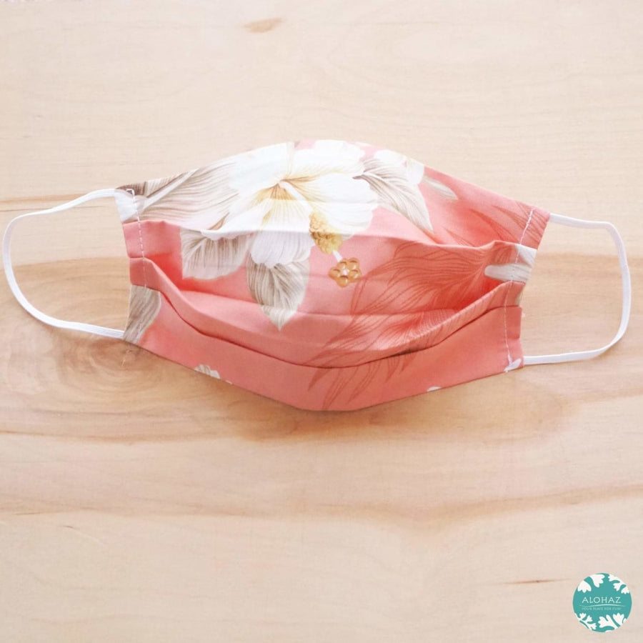 Hawaiian Face Mask for Adults ~ Peach Hibiscus Joy ~ Pleated | face mask