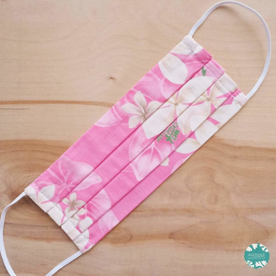 Hawaiian Face Mask for Adults ~ Pink Plumeria ~ Pleated | face mask