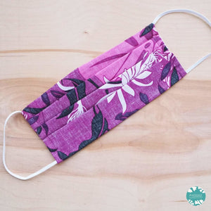 Pleated Face Mask + Filter Pocket ~ Purple Punahou | face mask