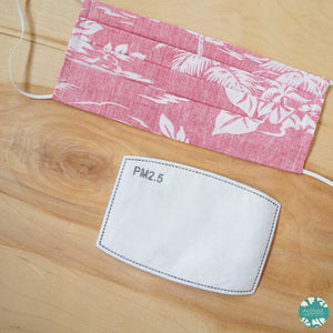 Pleated Face Mask + Filter Pocket ~ Red Old Hawaii | face mask