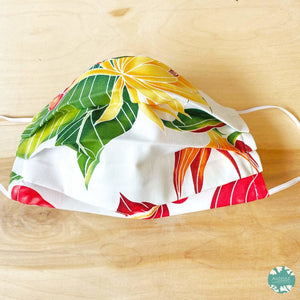 Hawaiian Face Mask for Adults ~ White Paradise ~ Pleated | face mask