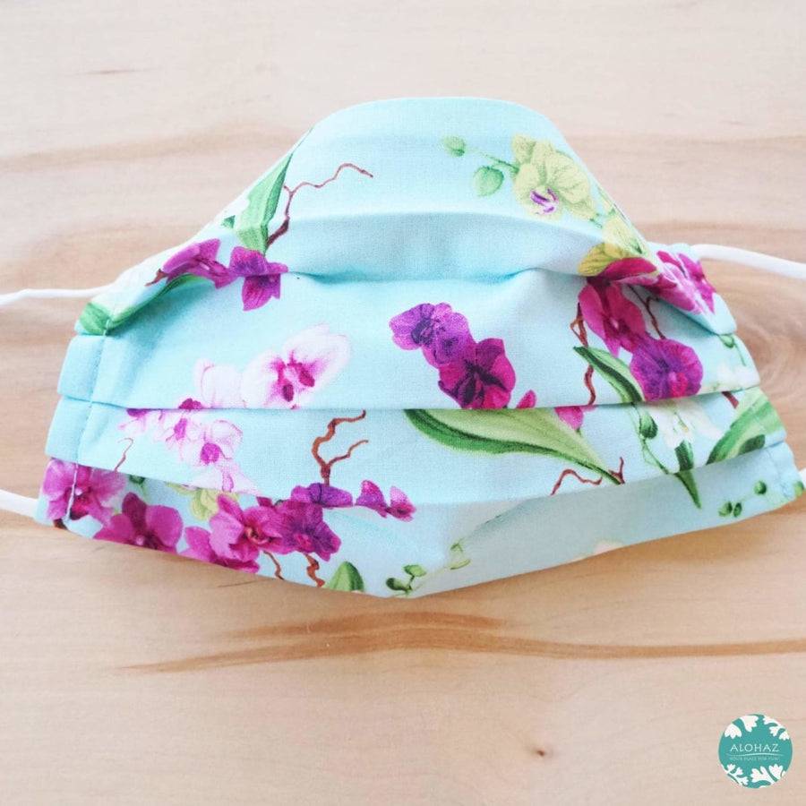 Pleated Face Mask + Pocket + Adjustable Loop ~ Aqua Orchid Bouquet | face mask