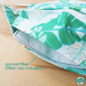 Pleated Face Mask + Pocket + Adjustable Loop ~ Green Fronds | face mask