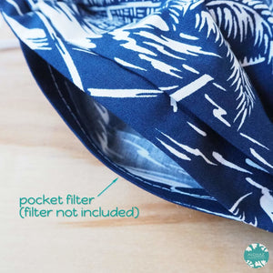 PLEATED FACE MASK + POCKET + ADJUSTABLE LOOP ~ Navy Island | face mask