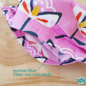 PLEATED FACE MASK + POCKET + ADJUSTABLE LOOP ~ Pink Summer Fun | face mask