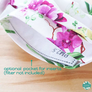 Pleated Face Mask + Pocket + Adjustable Loop ~ White Orchid Bouquet | face mask