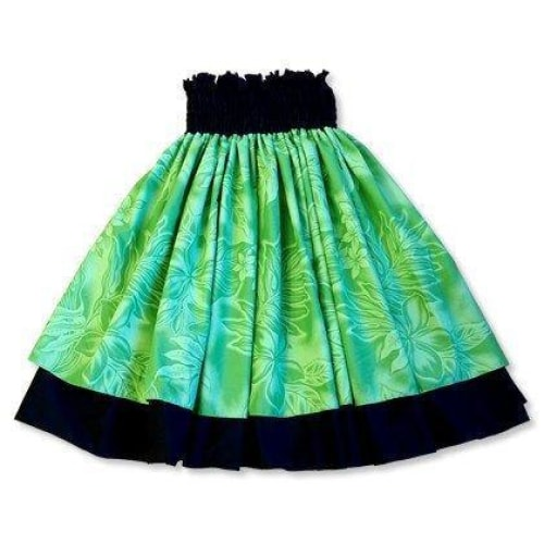 plumeria shadow green hawaiian double pau hula skirt | hawaiian pau hula skirt double