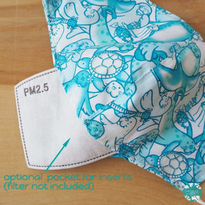 Pocket Face Mask + Adjustable Loops ~ Aqua Seal Party | face mask