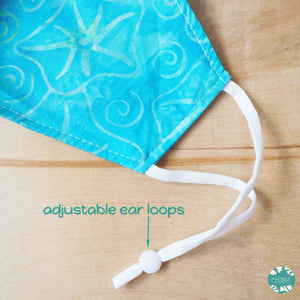 Pocket Face Mask + Adjustable Loops ~ Aqua Starfish | face mask