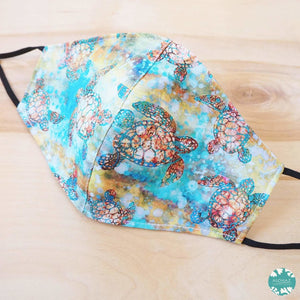 Pocket Face Mask + Adjustable Loops ~ Aqua Turtle Bay | face mask