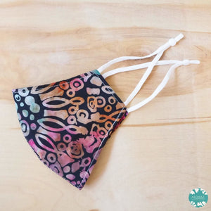 Pocket Face Mask + Adjustable Loops ~ Black Carnival Bloom | face mask
