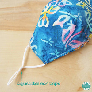 Pocket Face Mask + Adjustable Loops ~ Blue Butterfly | face mask