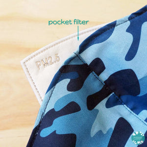 Pocket Face Mask + Adjustable Loops ~ Blue Camouflage | face mask