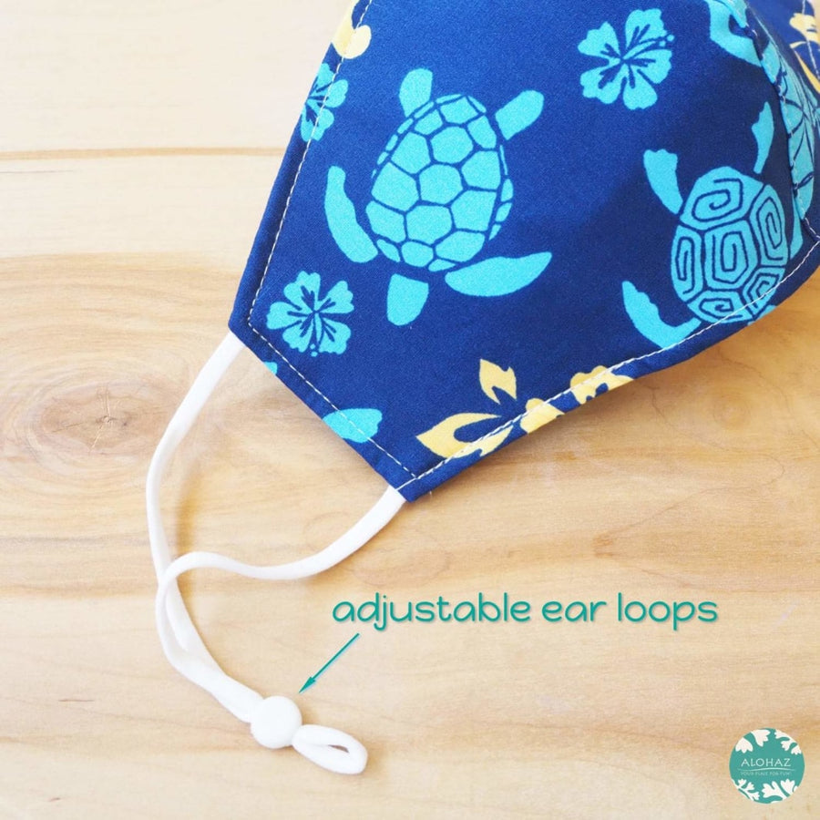 Pocket Face Mask + Adjustable Loops ~ Blue Hana Honu | face mask