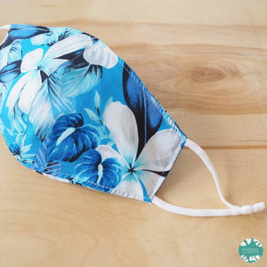 Pocket Face Mask + Adjustable Loops ~ Blue Hibiscus Fun | face mask