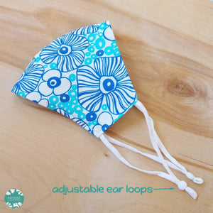 Pocket Face Mask + Adjustable Loops ~ Blue Sea Anemone | face mask