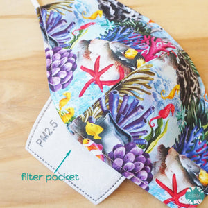Pocket Face Mask + Adjustable Loops ~ Blue Seahorse & Coral Reef | face mask