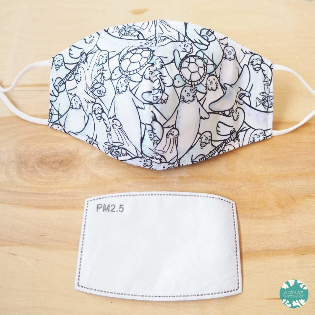 Pocket Face Mask + Adjustable Loops ~ Blue Seal Party | face mask