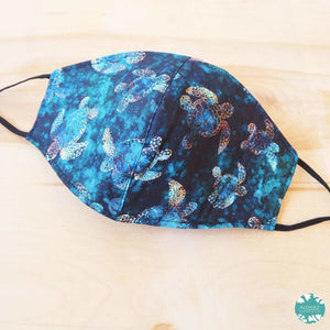 Pocket Face Mask + Adjustable Loops ~ Deep Blue Turtle Bay | face mask