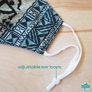Pocket Face Mask + Adjustable Loops ~ Green Kapa Symbols | face mask