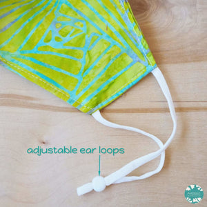 Pocket Face Mask + Adjustable Loops ~ Green Lime Banana Leaves | face mask
