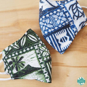 Pocket Face Mask + Adjustable Loops ~ Green Petroglyph | face mask