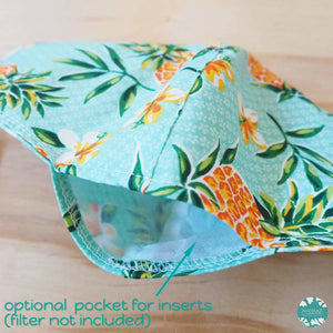 Pocket Face Mask + Adjustable Loops ~ Green Pineapple Fun | face mask