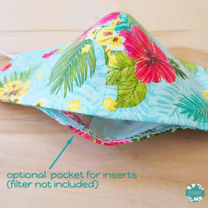 Pocket Face Mask + Adjustable Loops ~ Green Tropics | face mask