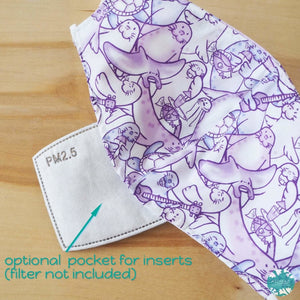 Pocket Face Mask + Adjustable Loops ~ Purple Seal Party | face mask