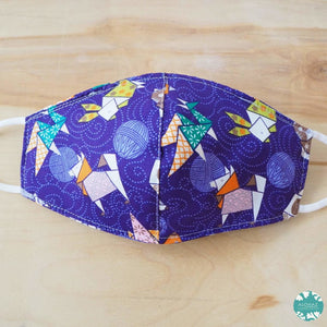 Pocket Face Mask + Adjustable Loops ~ Purple Zodiac Origami Animals | face mask
