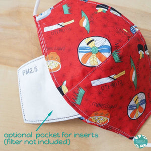 Pocket Face Mask + Adjustable Loops ~ Red I Love Sushi | face mask