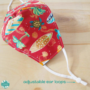 Pocket Face Mask + Adjustable Loops ~ Red Let's Surf | face mask