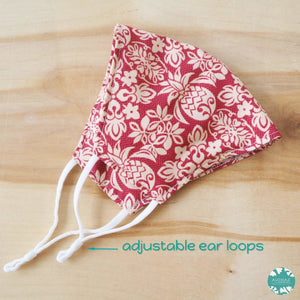 Pocket Face Mask + Adjustable Loops ~ Red Pineapple Crown | face mask