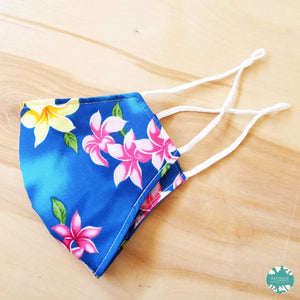 Pocket Face Mask + Adjustable Loops ~ Royal Blue Lei of Aloha | face mask