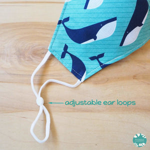 Pocket Face Mask + Adjustable Loops ~ Teal Gentle Whales | face mask