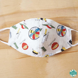 Pocket Face Mask + Adjustable Loops ~ White I Love Sushi | face mask