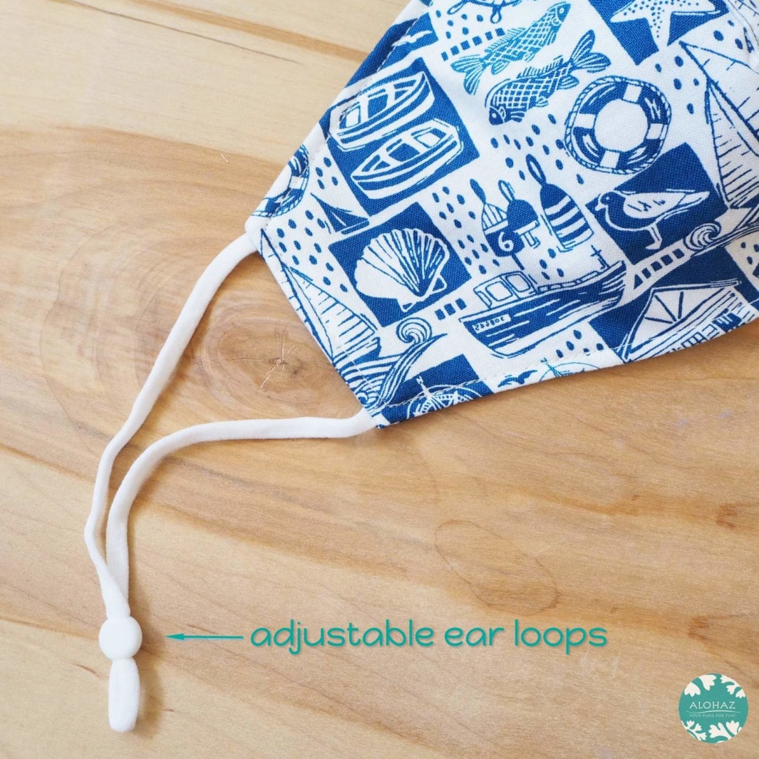 Pocket Face Mask + Adjustable Loops ~ White Nautical | face mask