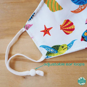 Pocket Face Mask + Adjustable Loops ~ White Sea Creatures | face mask