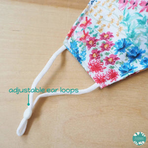 Pocket Face Mask + Adjustable Loops ~ White Wild Flowers | face mask