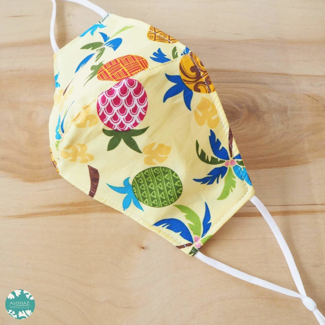 Pocket Face Mask + Adjustable Loops ~ Yellow Pineapple Jam | face mask