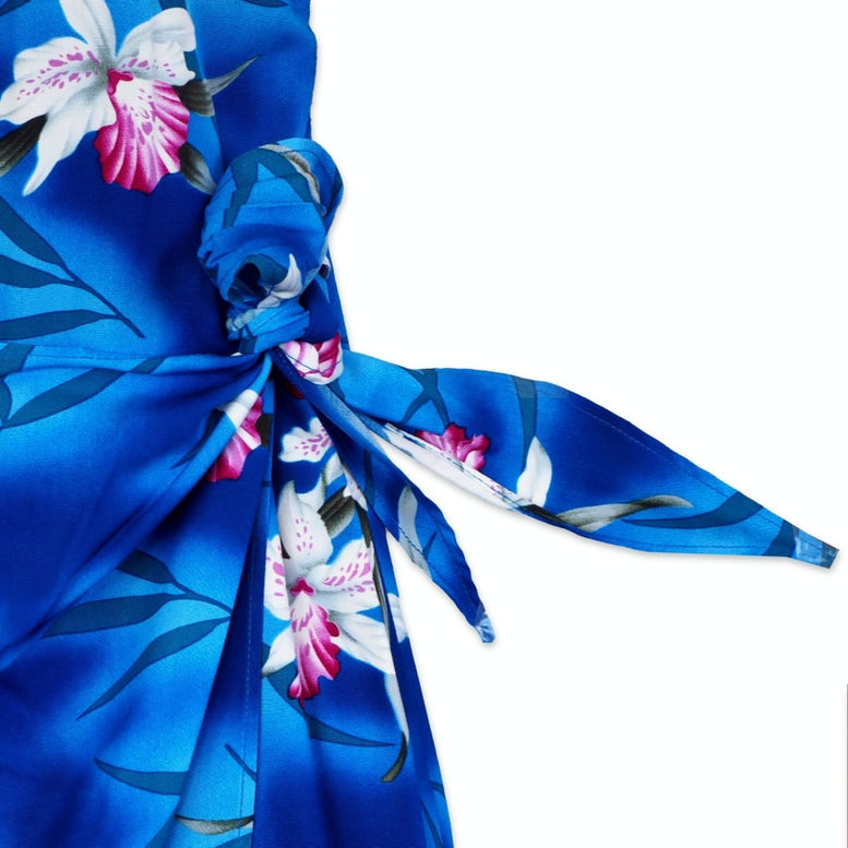 poipu blue hawaiian honi sarong dress | short dress hawaiian