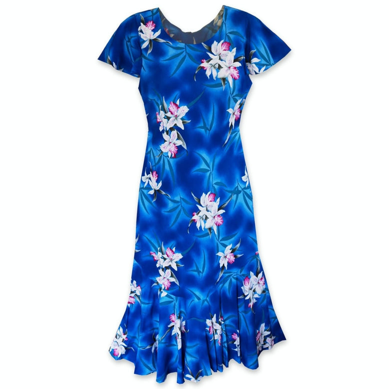 poipu blue hawaiian malia dress | hawaiian dress midi midlength
