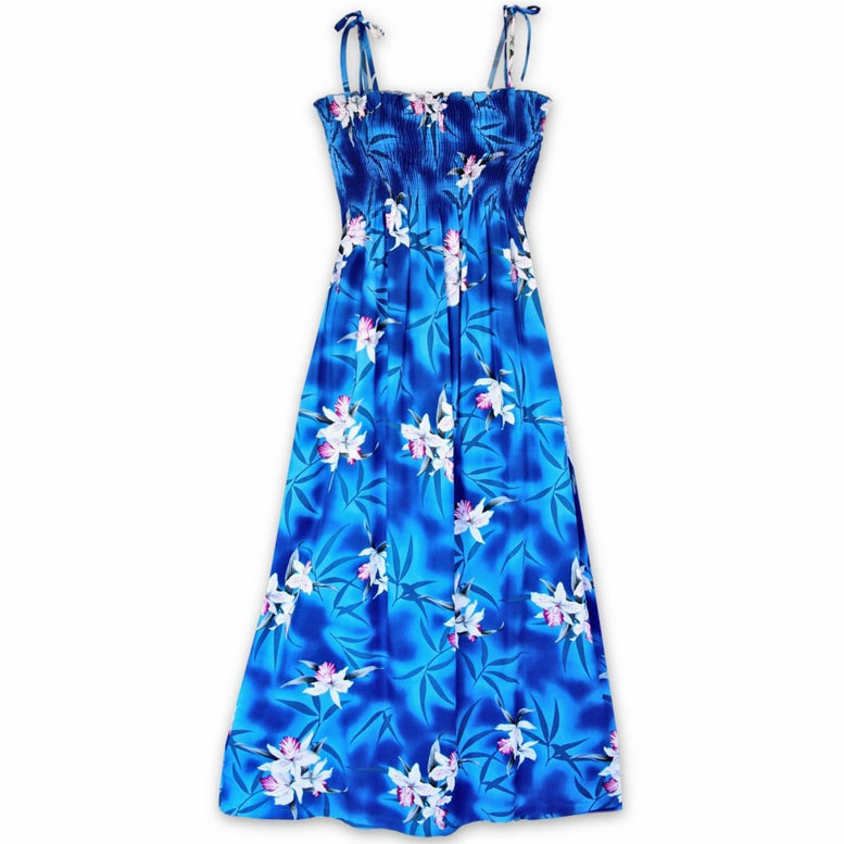 poipu blue hawaiian maxi dress | long dress hawaiian