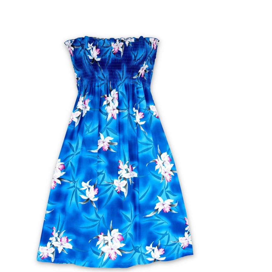 poipu blue hawaiian moonkiss short dress | short dress hawaiian