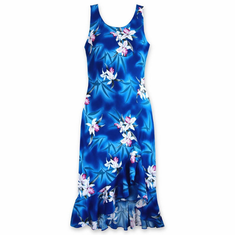 poipu blue hawaiian naniloa dress | hawaiian dress midi midlength
