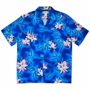 poipu blue hawaiian rayon shirt | hawaiian men shirt